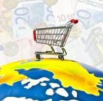 Symbolbild: Welt mit Einkaufswagen